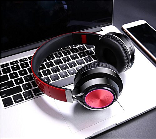 LILINA Wireless Light Bluetooth Headset Head-Mounted Game Sports Running Headset Computer Mobile Phone Universal Long Standby Card Music Bass Can Answer The Phone,Red by LILINA (Image #1)