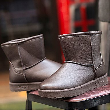Deutsches Elektronen-Synchrotron Damen Schuhe PU Winter Schnee Stiefel Fashion Boots Stiefel Flach Absatz für Outdoor Khaki Braun, Schwarz, Khaki, US8,5/EU39/Vereinigtes königreich6,5/CN40
