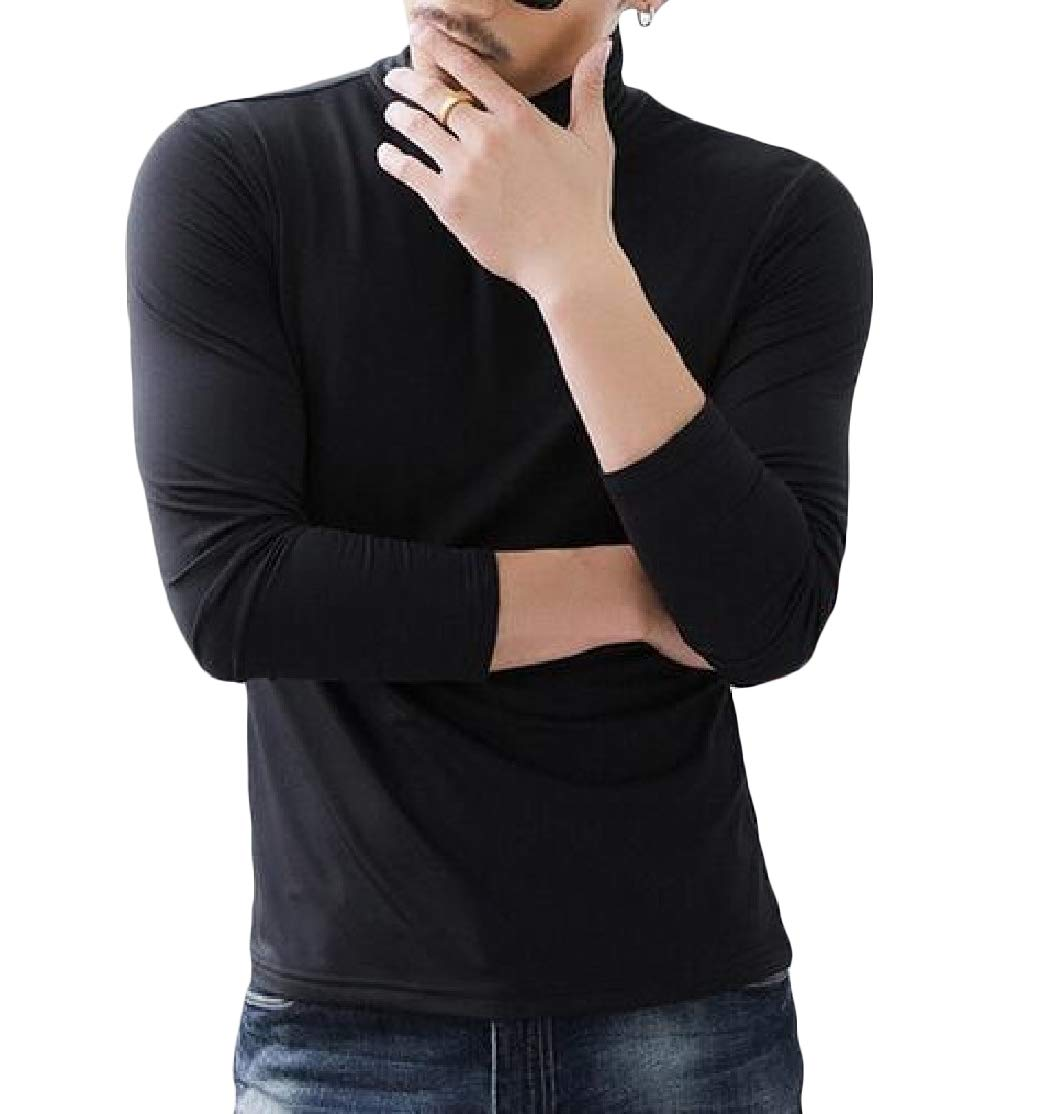 Comaba Men Turtleneck Fitted Long Sleeve Solid Pullover Plus Size Tees Top Pattern1 S