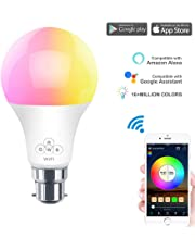 HaoDeng WiFi LED Light, Smart Bulb -Timer& Sunrise& Sunset- Dimmable, Multicolor, Warm White (Color Changing Disco Ball Lamp) - 50w Equivalent B22(6.5W), Compatible with Alexa, Google Home Assistant and IFTTT