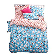 zhENfu Wonderful Blue and Pink Flowers Bedding Sets 4PCS for Twin Full Queen King Size from China Contian 1 Duvet Cover 1 Flatsheet 2 Pillowcases,King,Pink+Blue