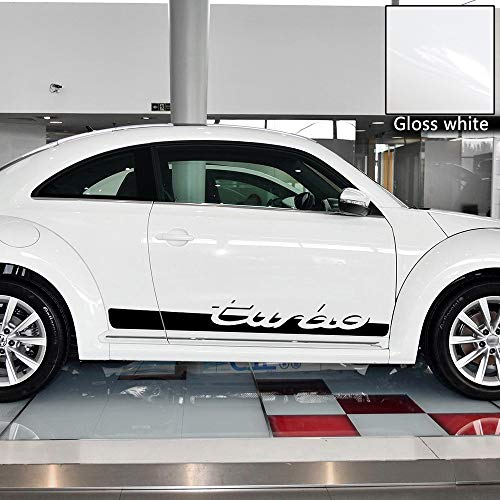 Charminghorse 2pcs Side Skirt Racing Stripe Lower Rocker Panel Sticker for 2010-Present Volkswagen Beetle Turbo Graphics Decal Stickers, 9 Colors Available (Gloss White)
