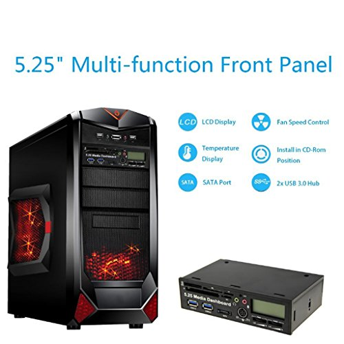 Dovewill 5.25'' Computer Multi-functional Dashboard Media Front Panel with eSATA USB 3.0 Hub, Audio Ports and Card Reader (SCF/TF/M2/SD/XD/MS/MMC) by Dovewill (Image #3)