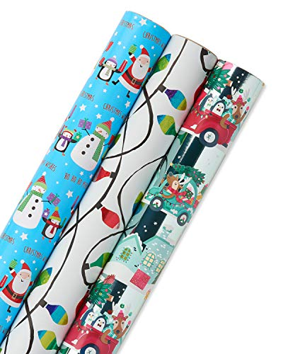 Papyrus Holiday Santa and Lights Wrapping Paper Set, 3-Count