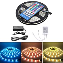 LED Strip Light Kit 5-meter Waterproof of Flexible Color Changing RGBW SMD 5050 300leds with IR40key Controller and 12V5A Power Supply