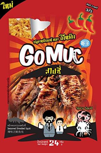 GoMuc Seasoned Dried shredded squid Hot (dried squid),24g X 3Pack.