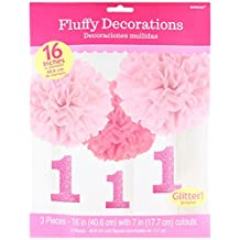 Amscan 1st Birthday Fluffy Decorations with Danglers, Large, Pink