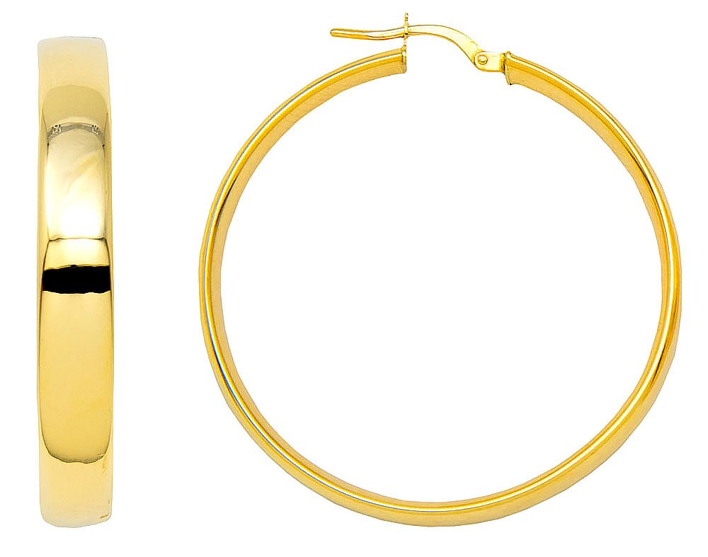 14k Yellow Gold Flat & Wide Hoop Earrings (5mm Wide), Two Sizes (35.0)