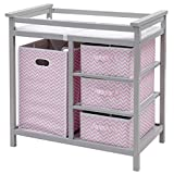 Badger Basket Corner Changing Table Costzon Baby Changing Table, Diaper Storage Nursery Station with Hamper and 3 Baskets (Gray+Pink)