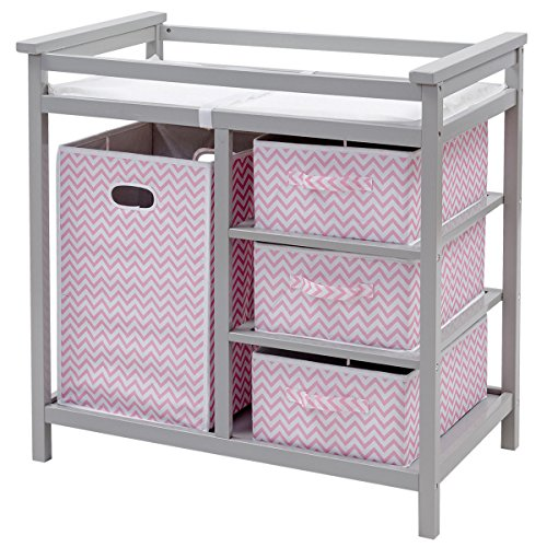 Pink Changing Table - Costzon Baby Changing Table, Diaper Storage Nursery Station with Hamper and 3 Baskets (Gray+Pink)