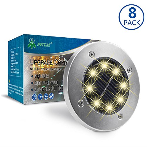 Solar Lights Outdoor Decorative Pathway Light 8 Pack Work Time 8-10 hours NETCAT Bright Garden Path Light Stainless Steel Warm White LED Lighting,for Yard Patio Walkway Driveway Landscape
