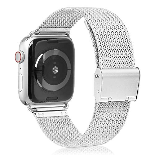 VATI Compatible with Apple Watch Band 38mm 40mm, Stainless Steel Mesh Loop Sport Wristband with Adjustable Magnetic Closure Replacement Band Compatible with iWatch Series 4/3/ 2/1, Silver