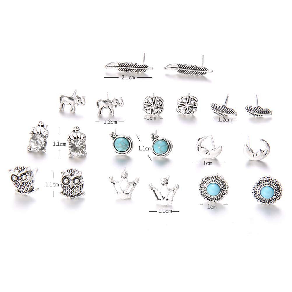 10 Pairs Women Rhinestone Crown Elephant Owl Leaf Ear Studs Earrings Jewelry - Antique Silver