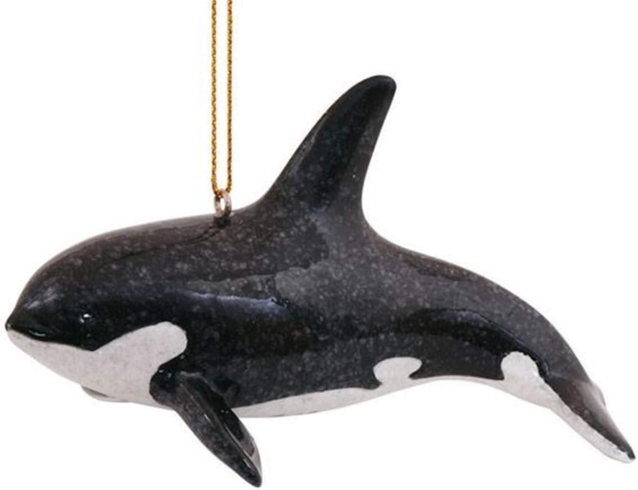 S&C Sea Life Killer Whale Orca Dolphin Hanging Christmas Ornament | Nautical Coastal Beach Decor Tree Decorations | Marine Science Ocean Gifts for Men Women