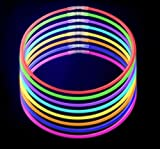Toys : 100-Pack Glow Stick Necklaces by CoBeeGlow | Bulk Pack of 22 Inch GlowStick with Connectors | Non-Toxic and Safe for Kids in 9 Vibrant Neon Colors | 6mm Thick For More Glow: Bring Joy To Your Life