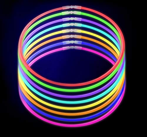 100-Pack Glow Stick Necklaces by CoBeeGlow | Bulk Pack of 22 Inch GlowStick with Connectors | Non-Toxic and Safe for Kids in 9 Vibrant Neon Colors | 6mm Thick For More Glow: Bring Joy To Your Life