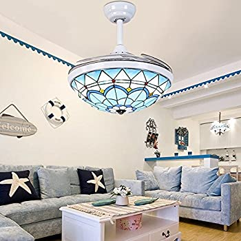 Huston Fan Unique Tiffany Bedroom Chandelier Fan 42 Inche Retractable Ceiling Fan Light Three Light Source-White,Warm,Neutral,Three Gear Speed,Quiet and Energy Saving,Three Down Rod,Not Dimmable