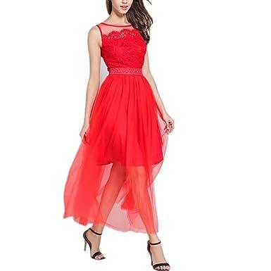 Vestido de tendencia de moda Falda larga sin mangas roja de moda ...
