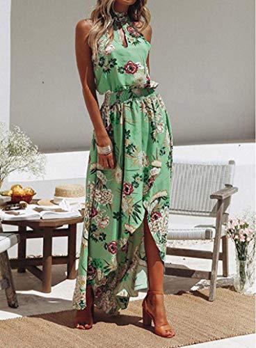 Beach Floral Sundress Long Dress Green Sleeveless Party NREALY Maxi Summer Evening Women's Boho nRUxwPv1