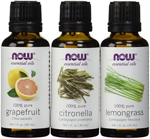 3-Pack Variety of NOW Essential Oils: Mosquito Repellent Blend - Citronella, Lemongrass, Grapefruit