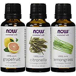 3-Pack Variety of NOW Essential Oils: Mosquito Repellent Blend - Citronella, Lemongrass, Grapefruit