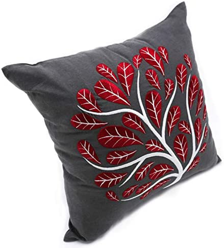 KainKain Peacock Tree Embroidered Pillow Cover, Grey Red Decorative Cushion Cover, Floral Cotton Linen Bed Pillow, Botanical Pillow for Couch Sofa, Handmade Throw Pillow 24 inch x 24 inch