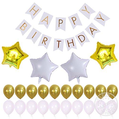 Partigos Happy Birthday Banner Kits with gold white foil ...