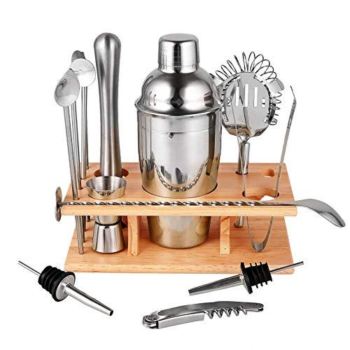 14 PC Premium Stainless Steel Cocktail Shaker Set with Stand and Recipes, Drink Mixer