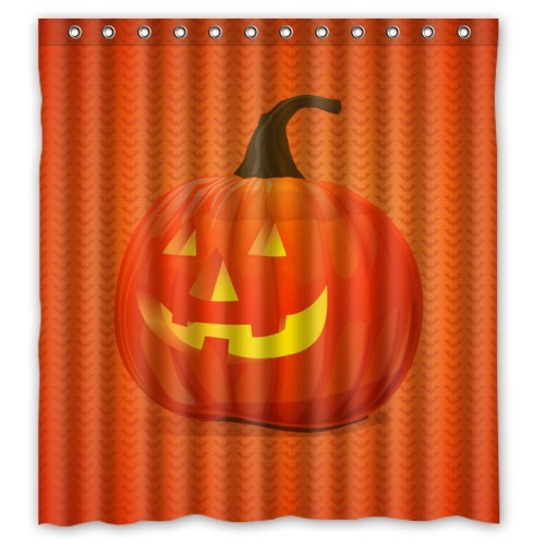 (Simple Halloween Time Orange Smile Pumpkin Shower Curtain (Shower Rings Included) 66