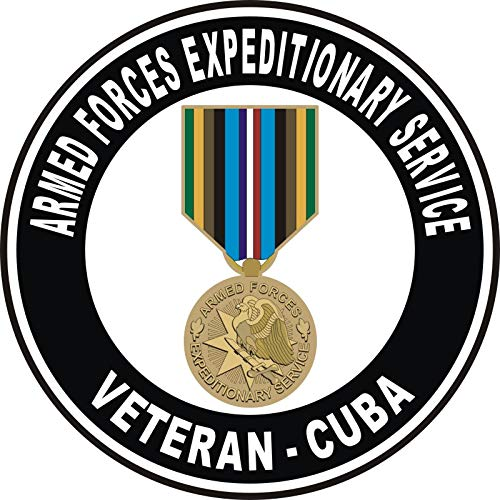 Armed Forces Expeditionary Medal Cuba Decal Military Veteran Served Window Bumper Sticker Vinyl Decal 3.8