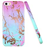 LUOLNH iPhone 5 Case,iPhone 5S Case, Gorgeous Marble Design Shockproof Clear Bumper TPU Soft Case Rubber Silicone Skin Cover Case for iPhone 5 5s SE(Pink +Blue +Gold)