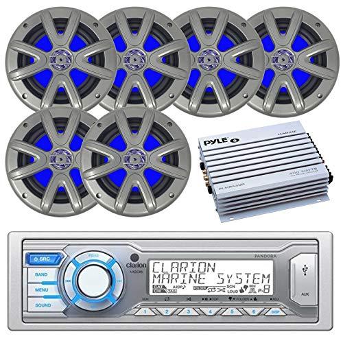 "Clarion M205 Marine Audio Single DIN Receiver - 6 x Searonics SEA65LC 6.5"" Dual Full-Range Marine Blue Lit LED Speakers (Charcoal) - Pyle 4-Channel Waterproof Marine Amplifier"