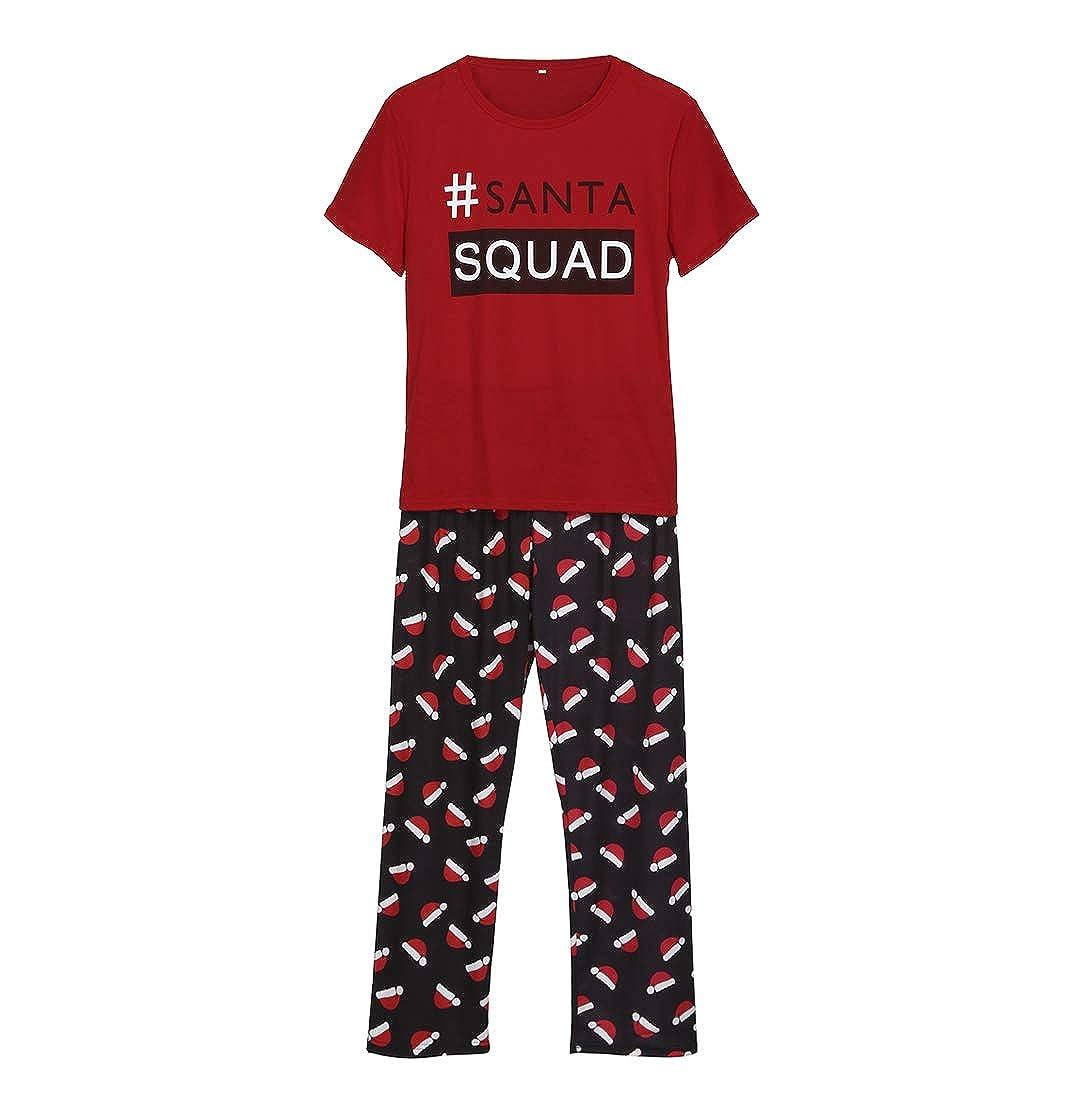 Family Matching Christmas Pajamas Santa Squad Short Sleeve Tops Christmas  Hat Pants Sleepwear Set Parent-Child Xmas Homewear at Amazon Women s  Clothing ... 906e0919c