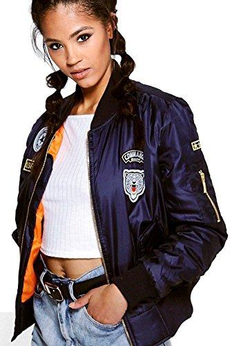 Military Blazer Badges (Ladies Girls Combat Badge Army Air Force Bomber Jacket USA Size 4-10 ( US Size 8 -UK 10, Navy))