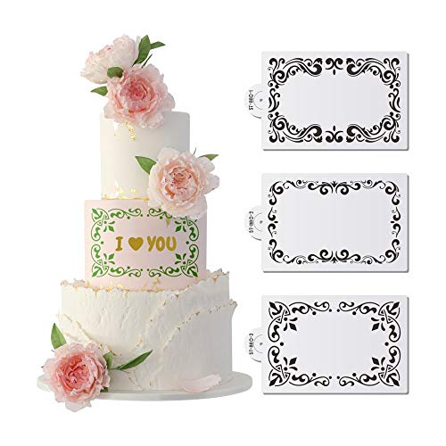 AK ART KITCHENWARE Frame Cake Stencils for Royal Icing Fondant Cake Decorating Tools Laser Cut Stencils for Painting Airbrush Template L8.5