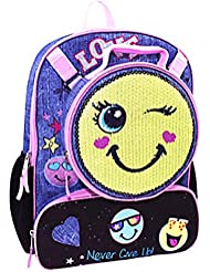 Emoji Girls Backpack with Detachable Insulated Sequin Lunch Bag