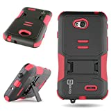 LG L70 Case, CoverON® Protective Slim Fit Hybrid Armor Case Red / Black Kickstand Cover for LG Optimus L70 Exceed 2 Realm Pulse Ultimate 2 L41C