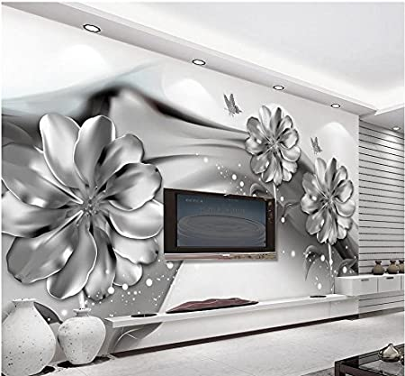 300cmx210cm 3d Wall Murals Wallpaper Black And White Flower Custom
