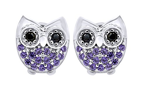 14k Yellow Owl Gold (AFFY Jewelry Owl Stud Earrings Alexandrite & Black CZ in 14k White Gold Over Sterling Silver)
