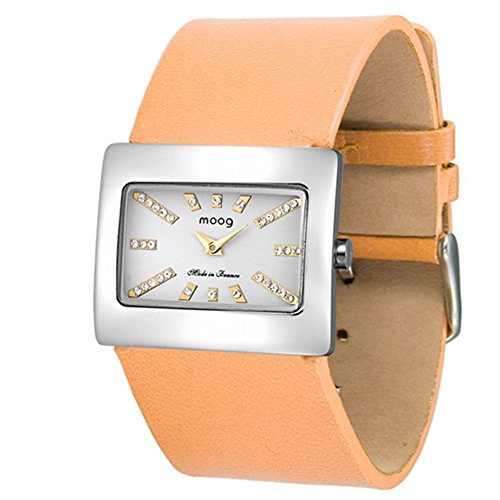 Moog Paris - Supra - Women's Watch with silver dial, orange strap in Genuine leather, made in France - M41642-103