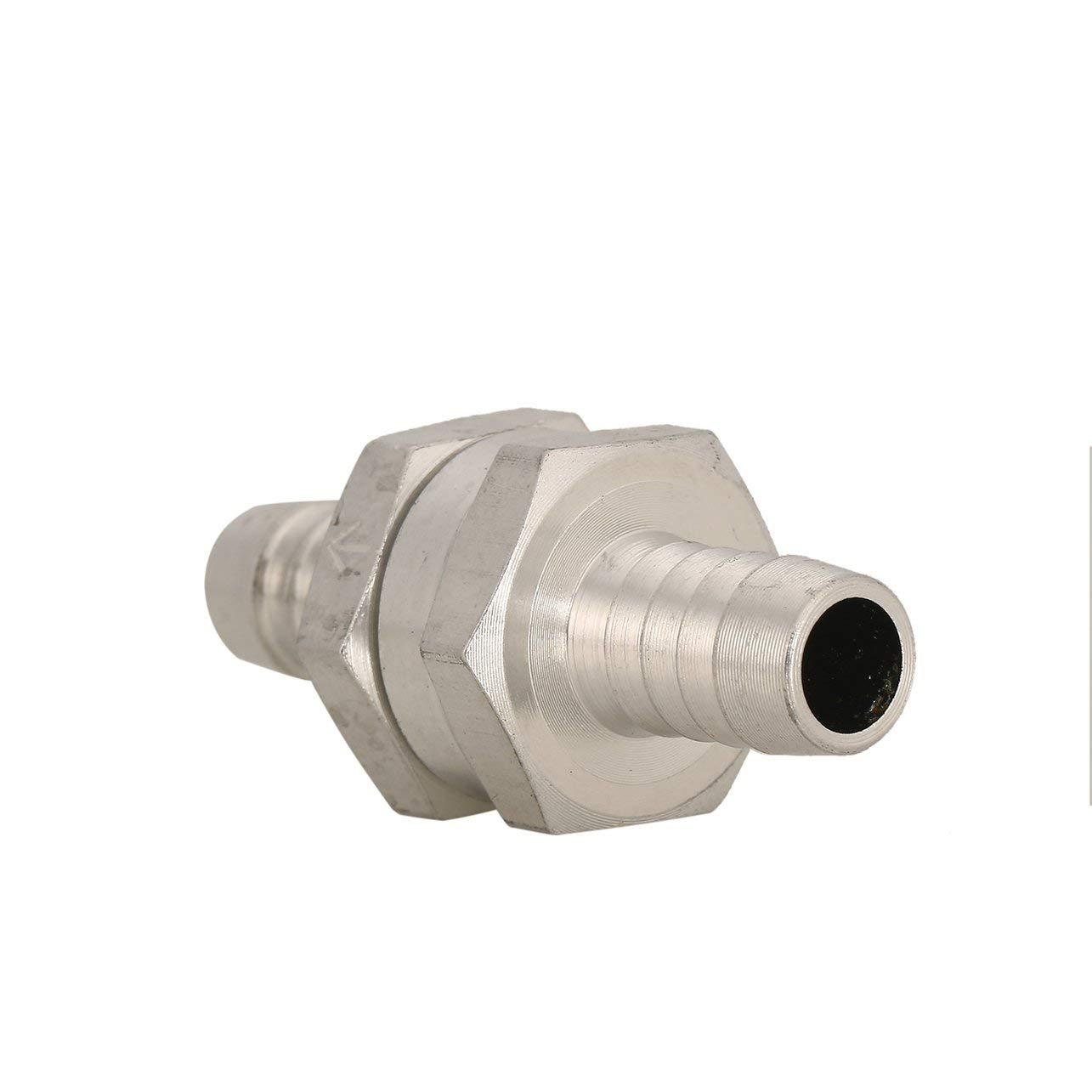 Color: plata 1pc v/álvula de retenci/ón de aluminio de 10 mm de combustible antirretorno Inline la v/álvula de retenci/ón de vac/ío Manguera Una forma para que autom/óvil carburador del veh/ículo