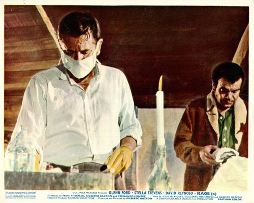 Rage Original Lobby Card Glen Ford in surgical mask Silverscreen