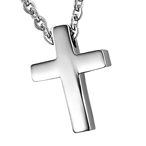 Collar Cruz Acero Inoxidable con Colgante Jesus Collar Hombre Cadena 45cm Joyería de Moda Hipoalergénico Original