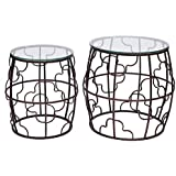 Adeco Classic Nesting Side Table Set (2 Pcs)-Black, Black