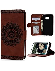 S6 Edge Case,Samsung Galaxy S6 Edge Case - Wallet Embossed Totem Flower Premuim PU Leather Snug Fit Soft TPU Inner...