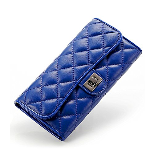 Yilen Sheepskin Genuine Leather quilted pattern Women's wallet Long Clutch Purse Card Holder Case for iPhone 6 Plus 5.5