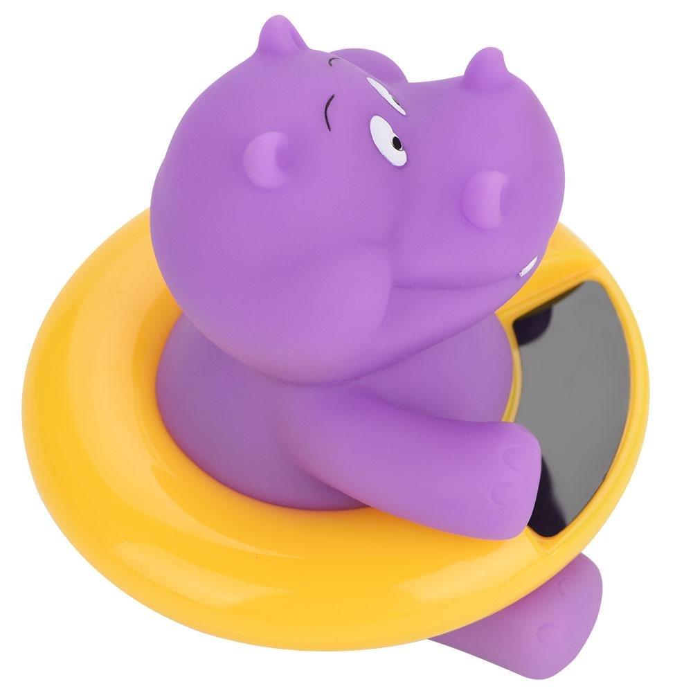 Baby Bath Thermometer 6 Styles Cute Animal Temperature Display Bath Toy Purple Hippopotamus