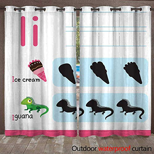 (RenteriaDecor 0utdoor Curtains for Patio Waterproof worksheet Vector Design for Kid W96 x L108)