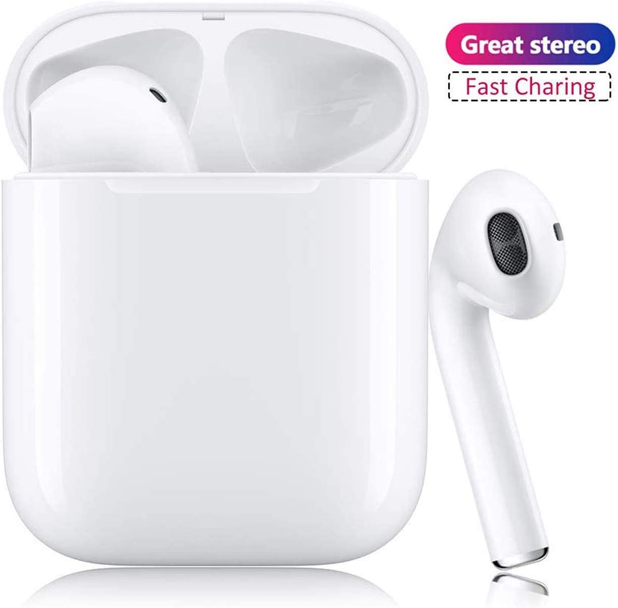 Bluetooth Wireless Earbuds Noise Canceling Sports Headphones with Charging Case IPX5 Waterproof Stereo Earphones in-Ear Built-in HD Mic Headsets for iPhone Android Apple Airpod White