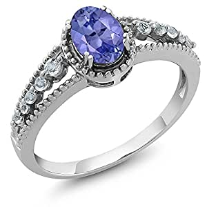 1.00 Ct Natural Oval Tanzanite and White Topaz 925 Sterling Silver Women's Ring,  ring size 5